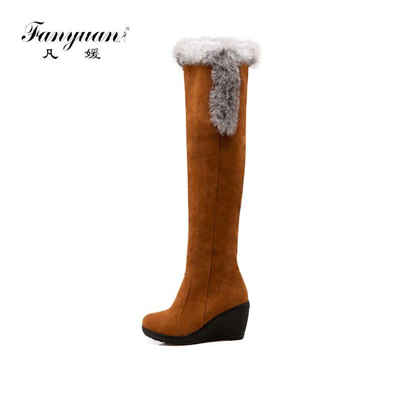 1718c542a3591c Großhandel Fanyuan Frauen Schuhe Wedges Mode Stiefel Feste Plattform High  Heel Overknee Stiefel Sexy Winter Komfortable Warmer Schnee Von Carryleft