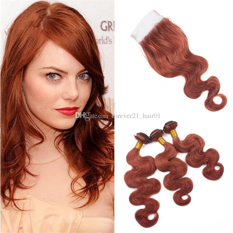 33 Dark Auburn Human Hair Weaves 3 Bundles With Lace Closure Copper