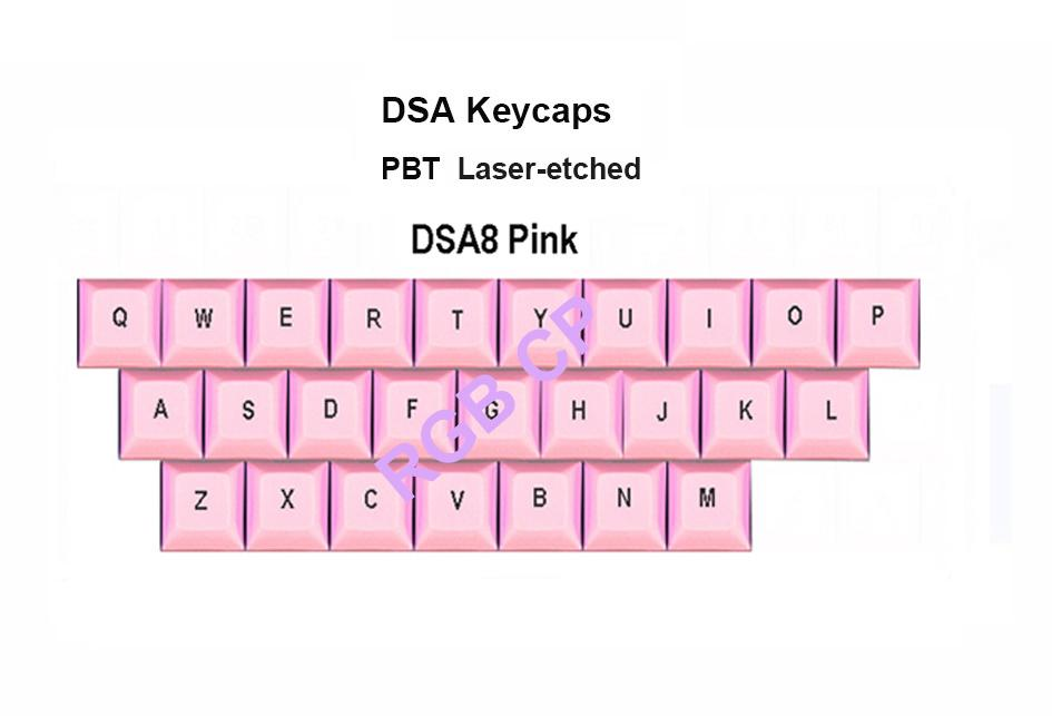 Free shipping NPKC 1u DSA Keycaps 16 Color Options PBT Material  Laser-etched top Print Side Print Blank for Cherry MX Switches