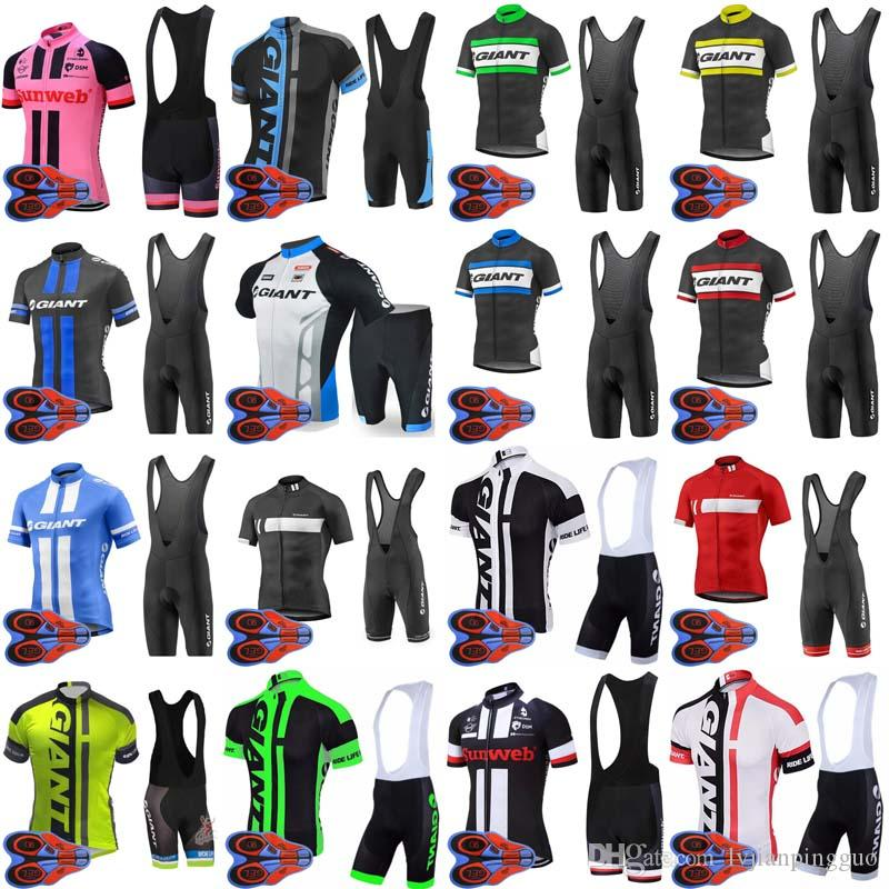 Giant Team Cycling Short Sleeves Jersey Men Bicycle Wear 9d Gel Pad