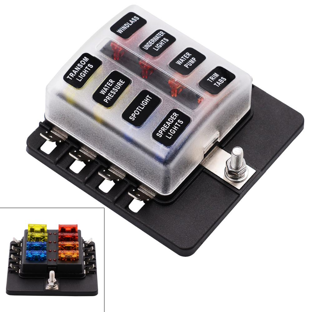 Blade Fuse Box Holder Max 32V Plastic Cover 8 Way Blade Fuse Box Holder M5  Stud with LED Indicator for Auto Car Fuse Box Holder Blade Fuse Box Holder  Fuse ...