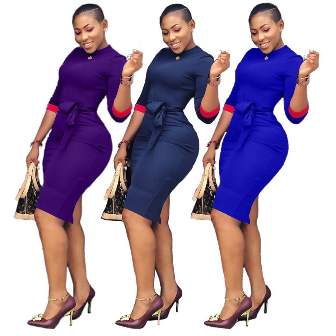 40a99394ba3 Hot Selling Women New Autumn Dress High Waist Sashes O-neck Three ...