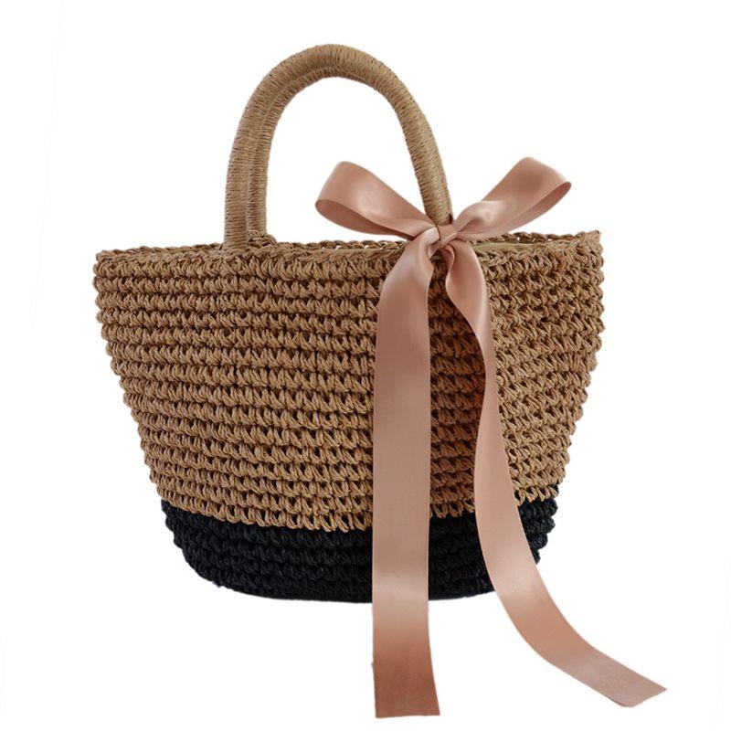 c8290d70977d Woven Crossbody Bag 2018 New Summer Women Ribbons Bow Straw Handmade Bag  Casual Beach Tote Bag Fashion Travel Shopping Handbag Duffel Bags Ladies  Purse From ...