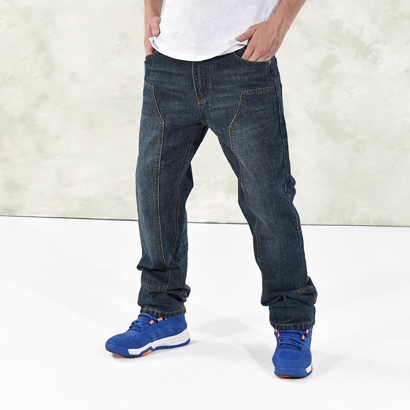 6f553f69096 2019 Plus Size 30 42 Men Blue Baggy Jeans New 2018 Male Washed Denim Pants  Hip Hop Streetwear Skateboarder Spliced Jeans From Beatricl