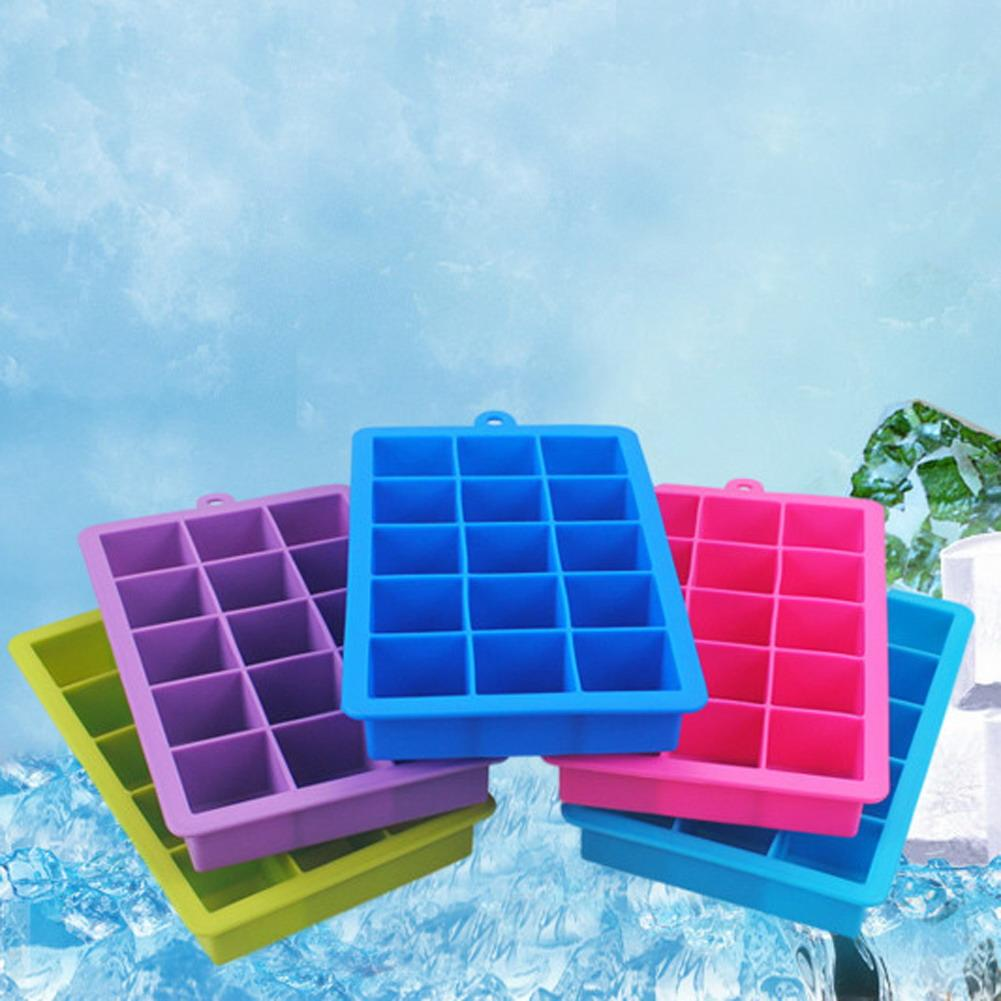 DIY Ice Cube Mold Square Silicone Tray Fruit Ice Cube Ice Cream Maker Kitchen Bar Drinking Accessories 5 Colors