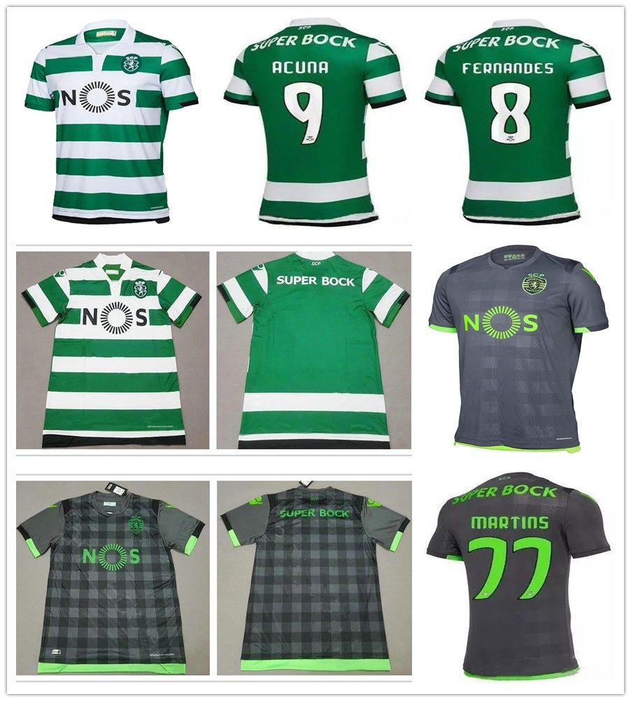 a075abf5ddb Custom 2018 2019 Sporting Clube De Lisbon Camisetas De Fútbol FERNANDES  CARVALHO DOST MARTINS ACUNA Home Away Green Black Football Shirt Por  Mengyichen