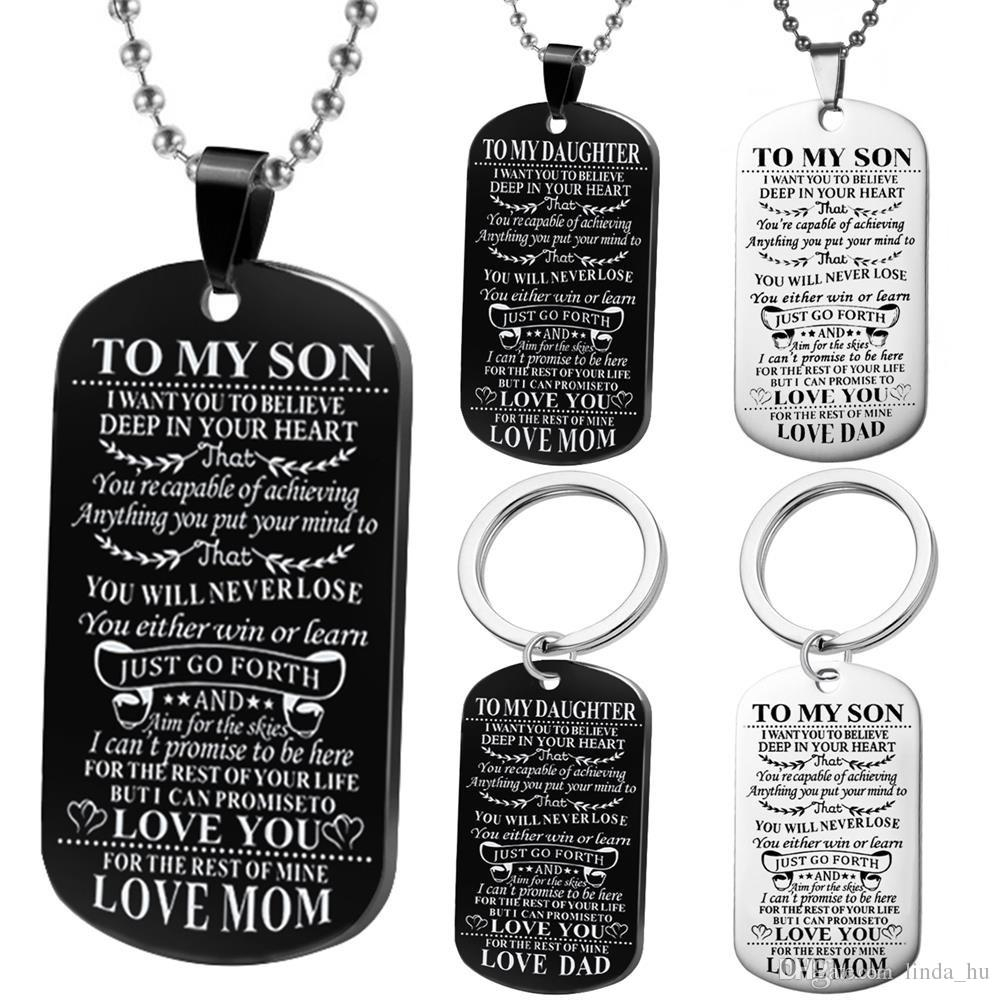 Wholesale Kids Necklace To My Son Daughter Dog Tag Military Necklace ...