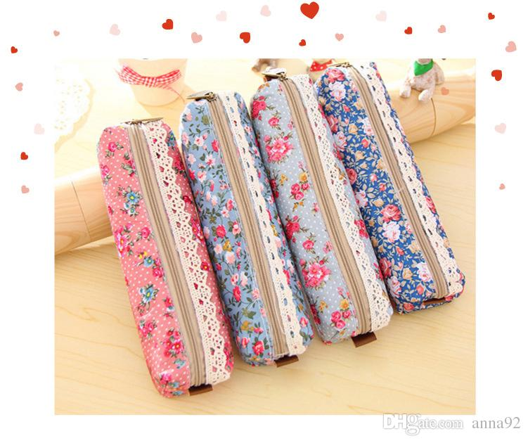 Hot Sales Cute Kawaii Floral Flower Canvas Pencil Cases Lovely Fabric Flower Pen Bags School Supplies high quality 2018 new
