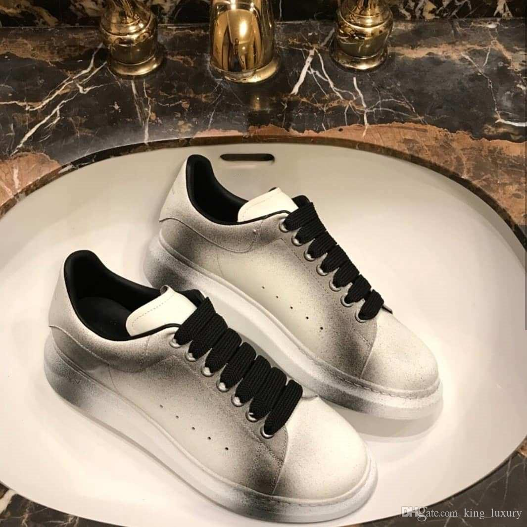 2018 New Season Men Women Lace-up Leather Sneakers Rubber Sole ... 9cb1536d2