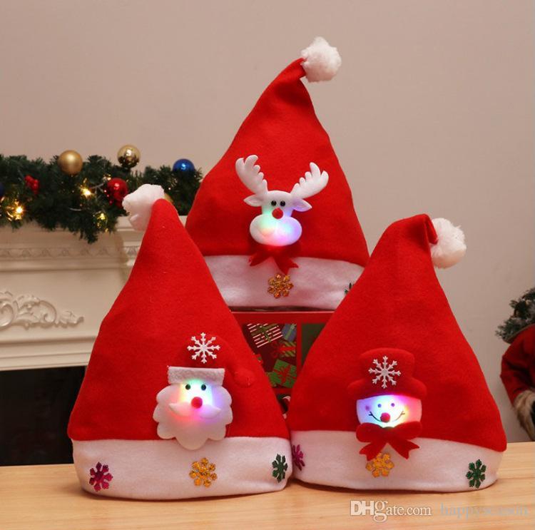f05cfb4a2569a LED Light Christmas Hat Santa Claus Snowman Bear Cap Luminous Xmas ...