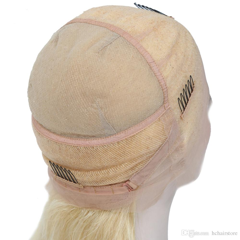 150% Density 613 Blonde Full Lace Human Hair Wigs With Baby Hair Straight Brazilian Virgin Lace Wigs Pre Plucked