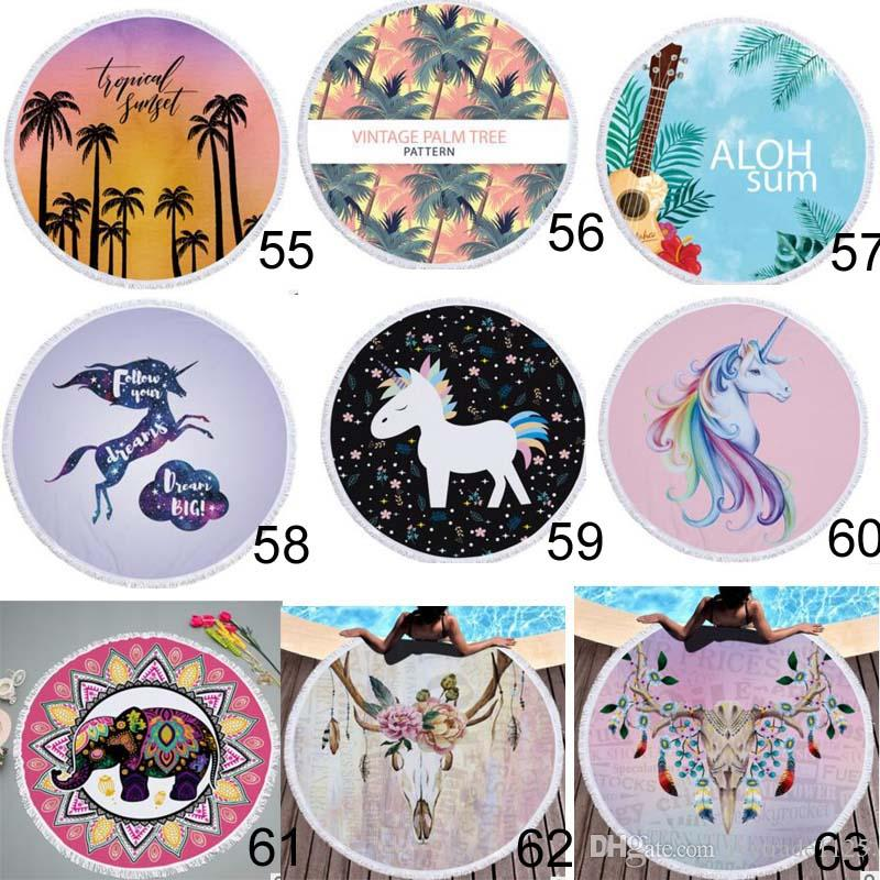 90 estilos 150x150cm tela de microfibra de forma redonda Unicorn tassel beach bikini clothes Skull Flamingo Elephant Footable Style 3D Towel