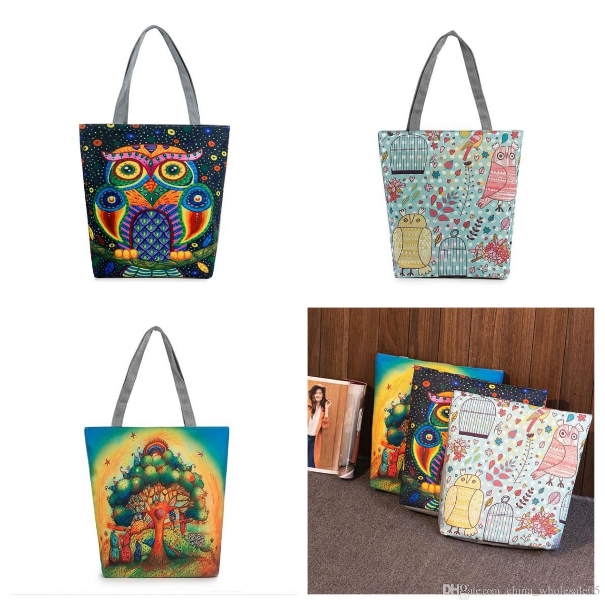 87bc9a54b0 Wholesale Cartoon Tree Owl Printed Canvas Tote Female Casual Beach ...