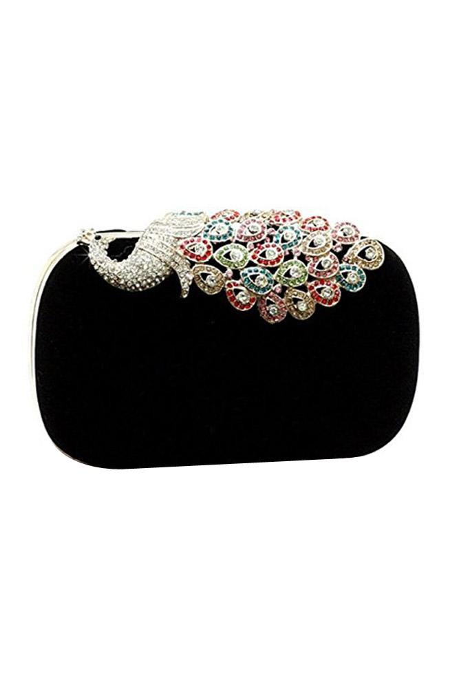 Women's Elegant Evening Bag Ladies' Handbag Clutch Bag Peacock Black for Wedding and Evening Dresses