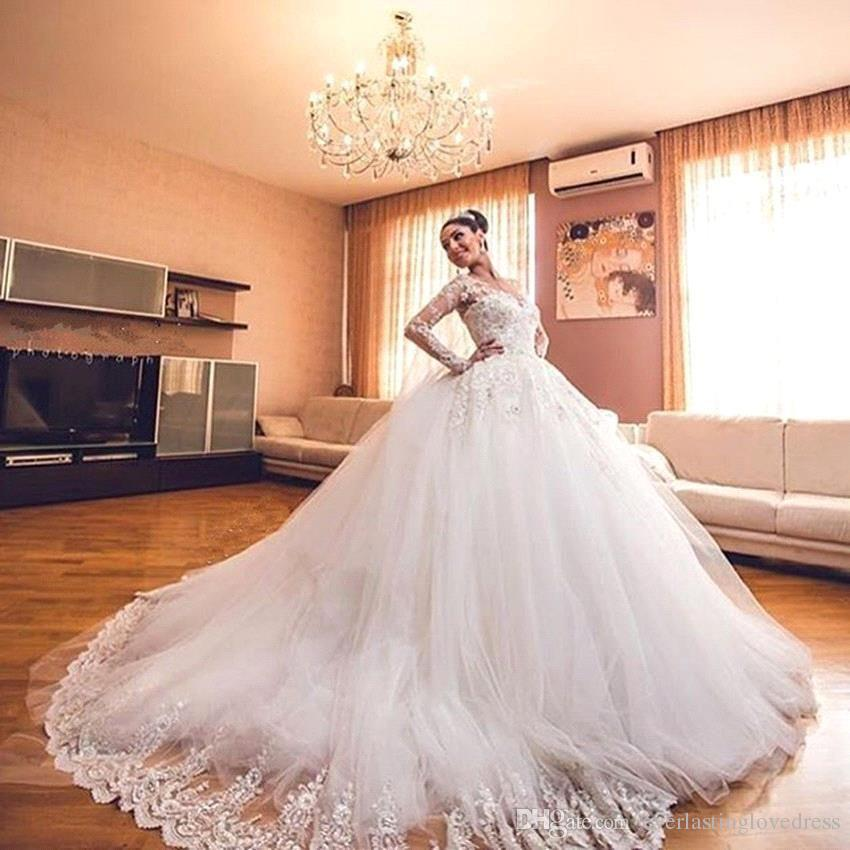 jewel neck lace appliqued long sleeves ball gown wedding dresses