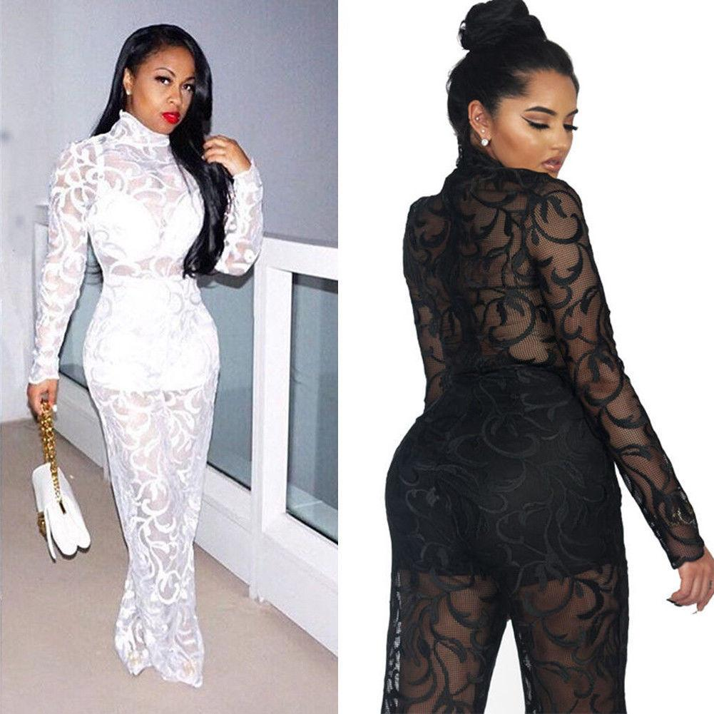 35a1f62a838 Sexy Women Lace Floral Jumpsuit Bodycon Playsuit Clubwear Party Long  Trouser Fashion Women Clothes Leotard Black Evening Dresses Dinner Dresses  From ...