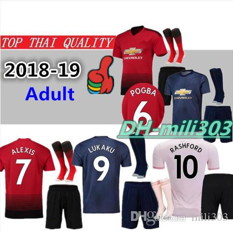0bb1d729c35d 2019 Best Quality 18 19 POGBA Soccer Jersey Kit UTD 2018 2019 ALEXIS LUKAKU  RASHFORD Kits MAN MAILLOT DE FOOT UtD Football Shirt Kit Uniforms From  Mili303