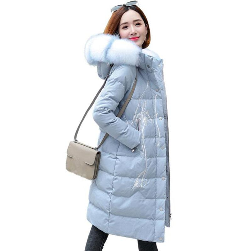 fba7cb8fd Winter Jacket Women 2018 New Embroidery Large Fur Colla Hooded Down Jacket  Thick Warm Female Loose Long Parkas Coat