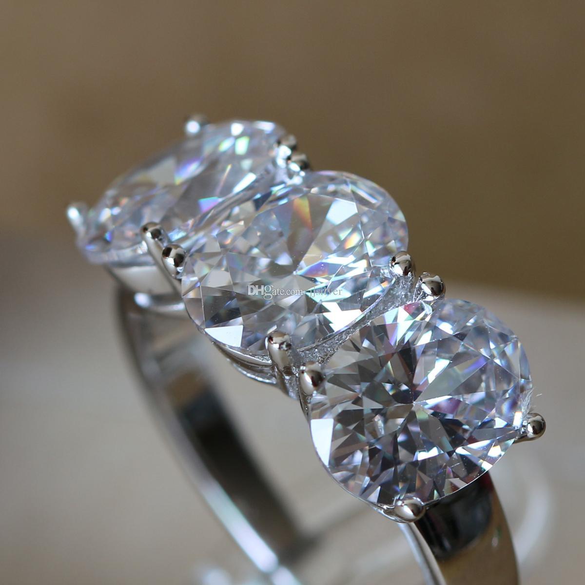 Tre pietre ovali da 3,84 ct, in oro bianco, in argento sterling 925, SONA, sintetico, con anello di fidanzamento, le donne, con gioielli raffinati