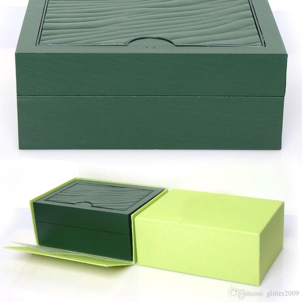 Scatole di legno di alta qualità Scatole di orologi verdi Scatole regalo Corona Scatola di legno Brochure di carte Scatola di legno verde glitter2009