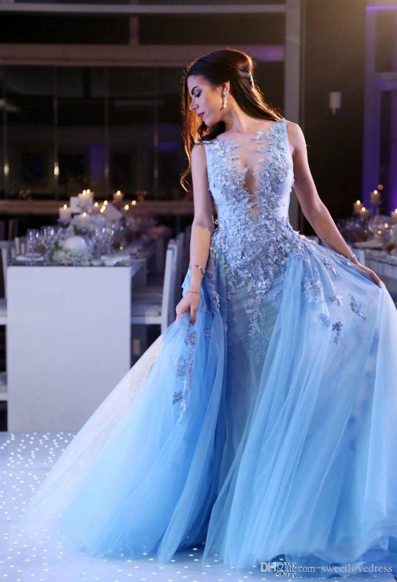 2018 New Arabic Light Sky Blue Tulle Prom Dresses Lace Appliques Overskirt Sleeveless Evening Dresses Formal Custom vestidos festa