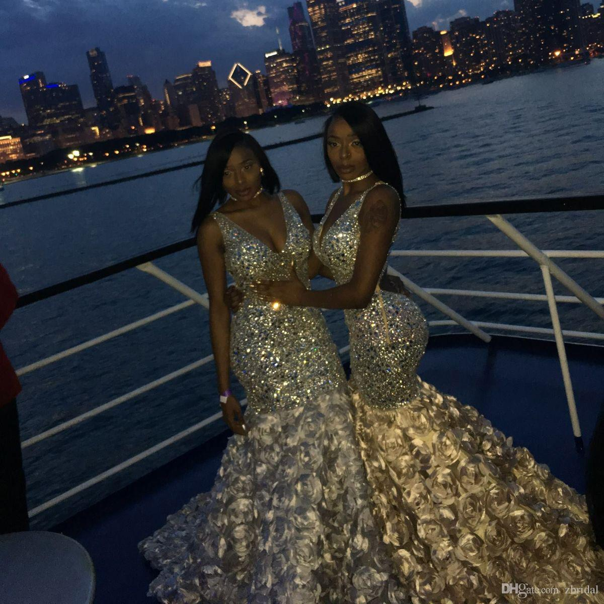 Bling Bling Mermaid Prom Dresses Sexy Deep V Neck Beads Crystals 3D Floral For Black Girls African Evening Dresses Plus Size SP368
