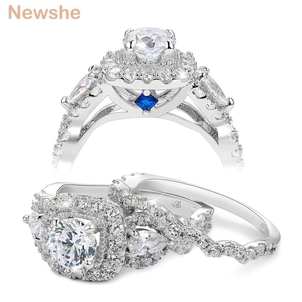 1.5 Ct Trois Pierres Plus Anneau Haute Zircone Argent Sterling Sz 4 Jewelry & Watches