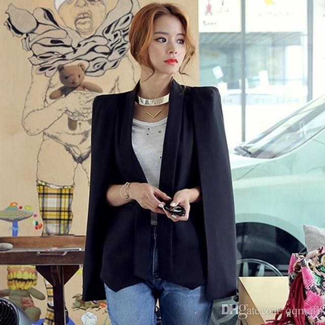 Womens Casual Jacket Shawl Open Placket Blazer OL Sleeveless Cape Coat Top