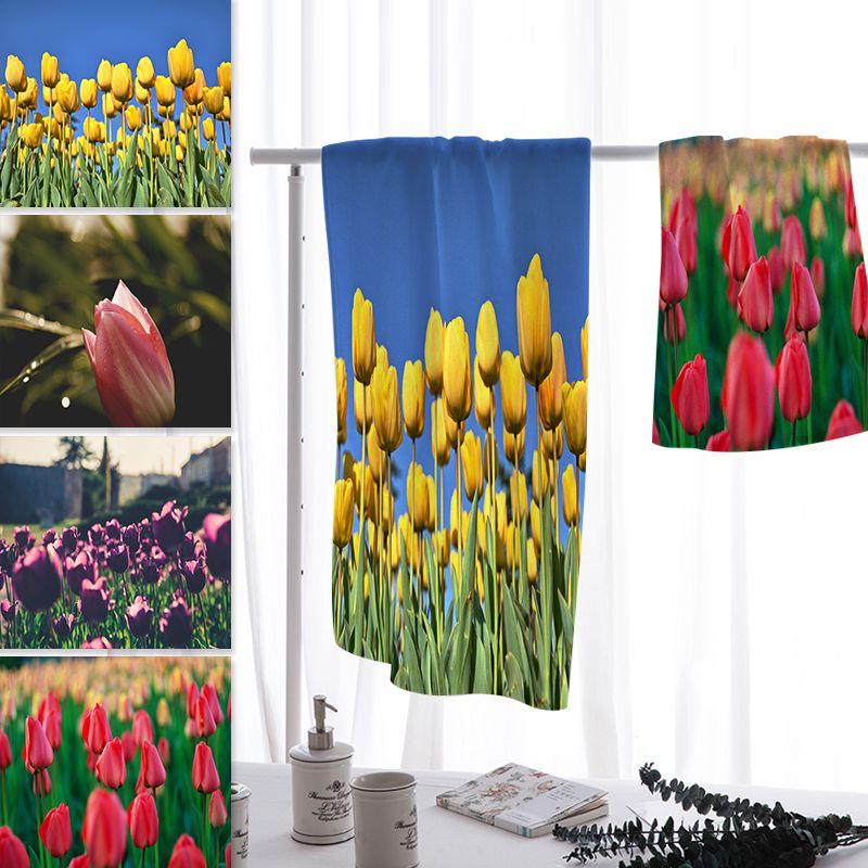 Acheter Vente En Gros Tulipe Impression Plage Serviette Microfibre ...