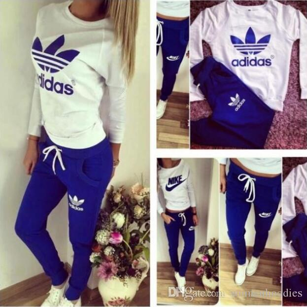 15 Colors 2019 Women Sport Suits Printed Fall Tracksuits Long-sleeve Casual Sportwear Costumes 2 Piece clothing set Hoodies Sweatshirt
