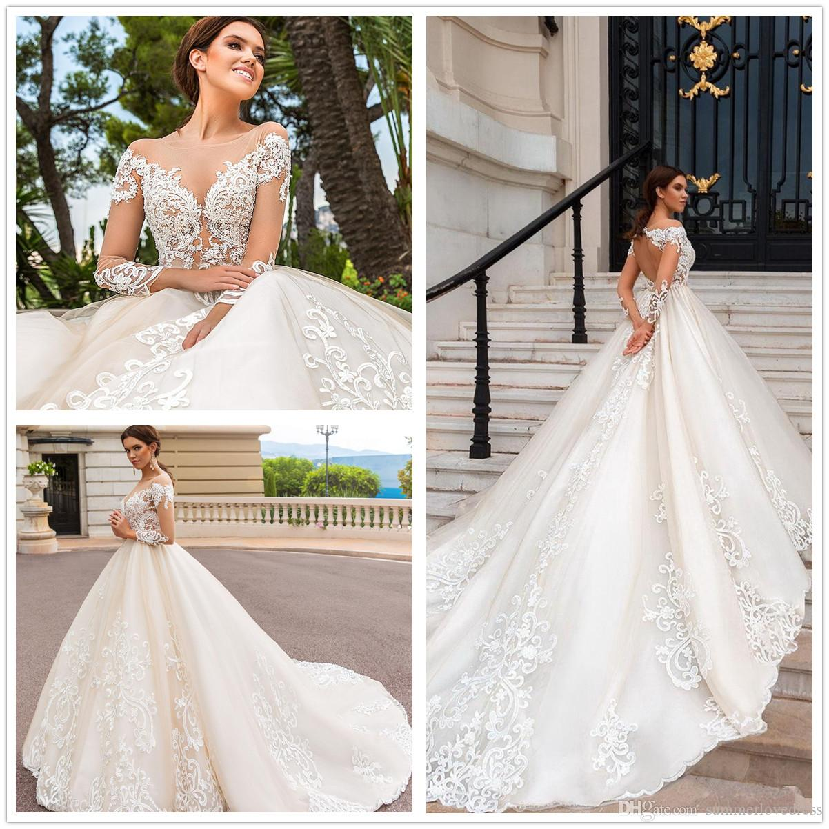 Luxurious Lace Ball Gown Wedding Dresses 2018 Sheer Scoop Neck Long ...