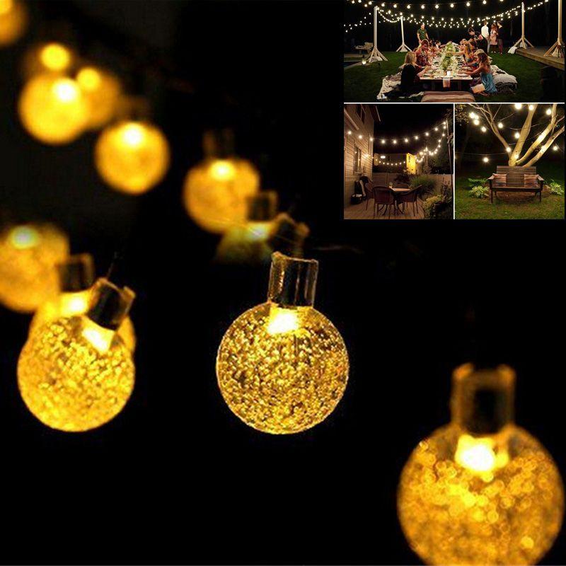 Crystal Ball Solar Outdoor Lightings 7m 30led 8modes Solar Fairy String  Lights Garden Party Christmas Tree Decorations Lights Outdoor String Lights  Led ...