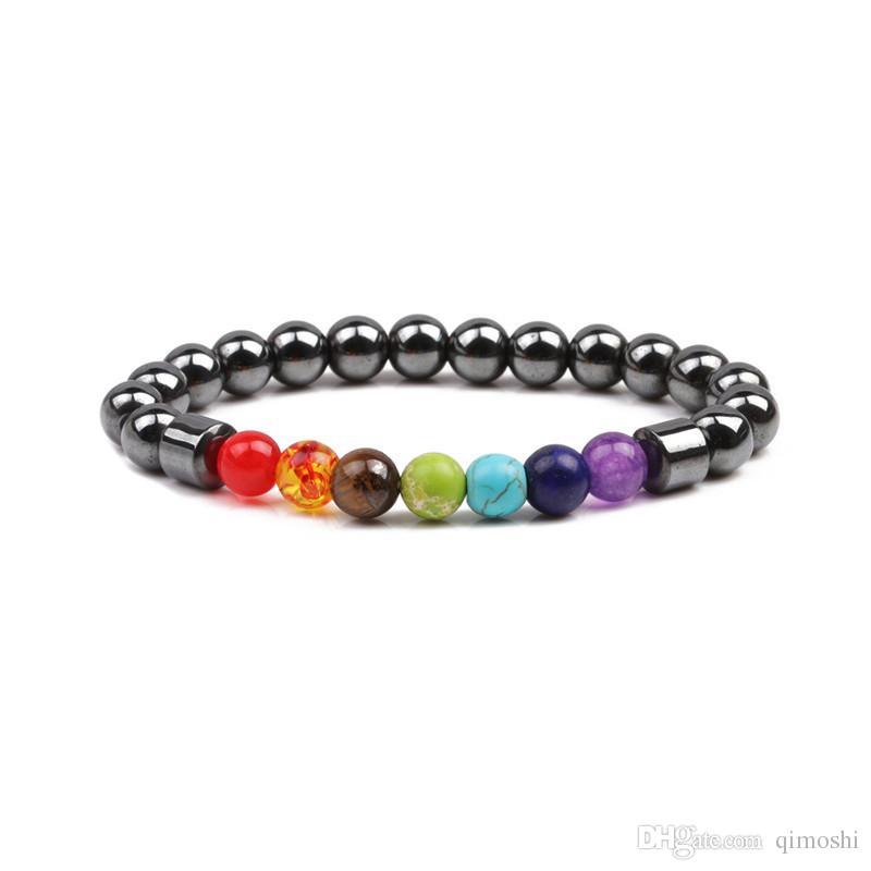 huge discount 3414a 91357 Braccialetto di cristallo naturale dei monili delle donne di Reiki della  pietra preziosa di Chakra della pietra preziosa 7PC / set braccialetto di  ...