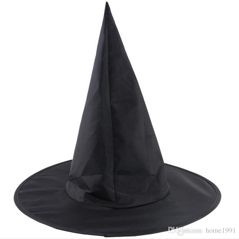 New Black Halloween Wizard Hats Oxford Cloth Magic Witch Pointed Hat Adult Kids Decoration Party Diy Birthday First
