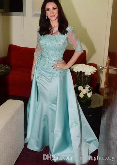 Светло-голубой мать невесты Платья совок шеи Половина рукава кружева бисером съемный Атлас Русалка платья матери свадебные платья для гостей
