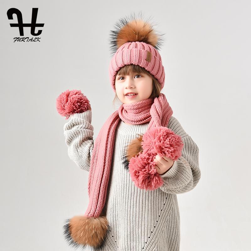 Acheter Furtalk Enfants 2 10 Hiver Chaud Chunky Épais Tricot Bonnet  Chapeaux Et Écharpes Réel Fourrure Pom Pom Chapeau Écharpe Ensemble Pour  Enfant De ... ffce3a2d943