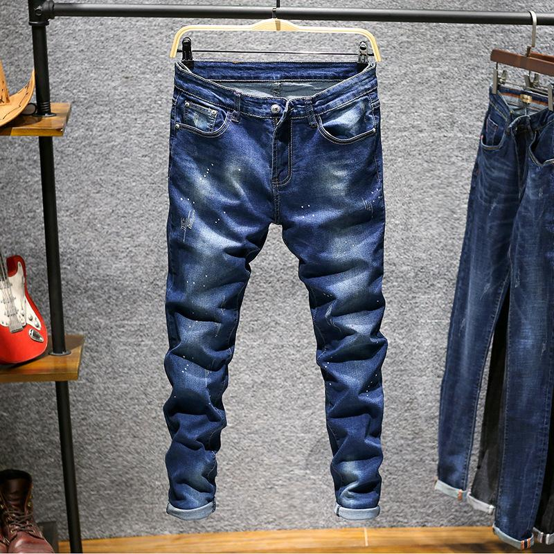 5781d0bc30e75 Compre Buena Calidad Jeans Men Pantalon Hip Hop Joggers Pantalones Rectos  Hombre Tinta Dotada Estiramiento Pantalones Largos Rayados Slim Fit Hombre  Jean A ...