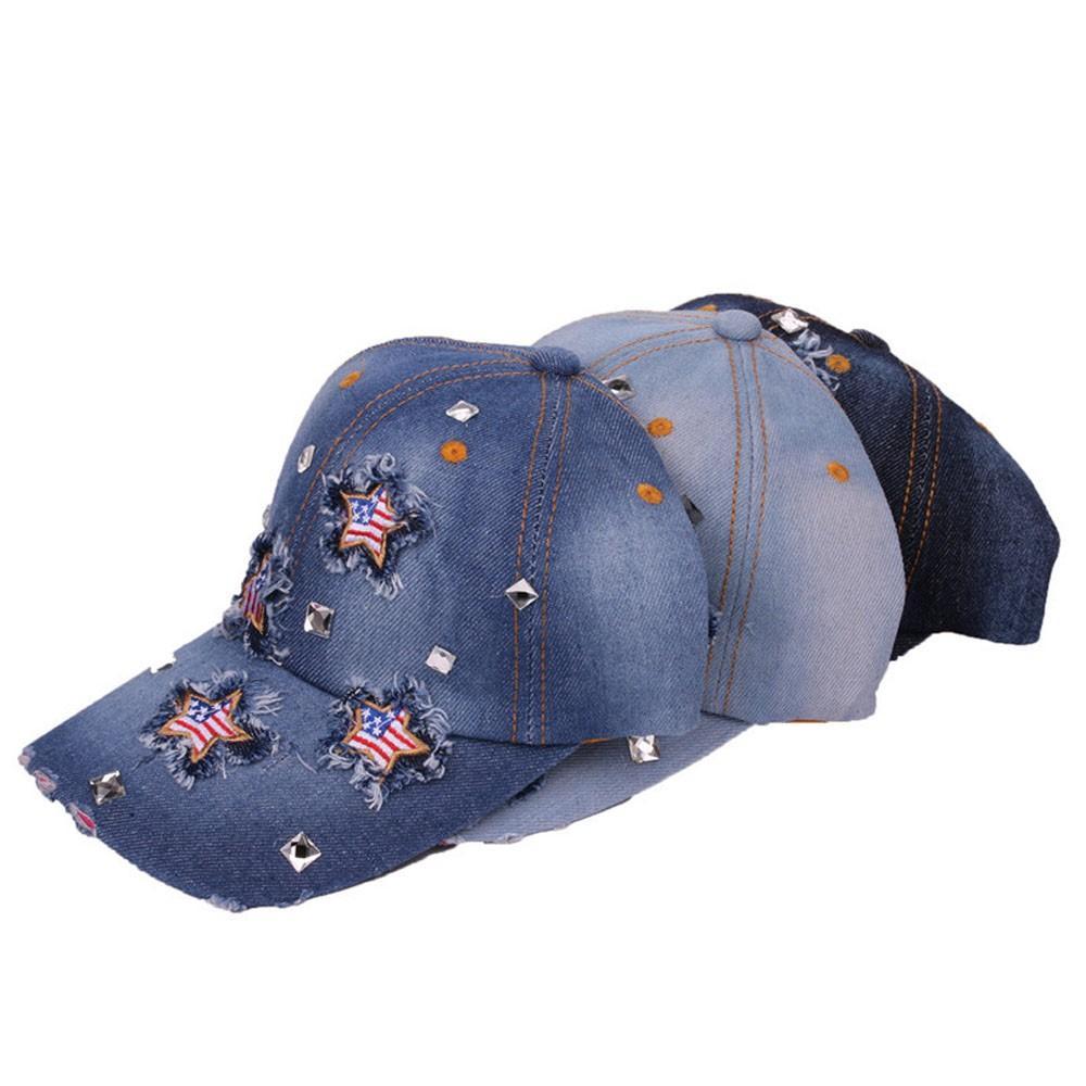 Sleeper #5001 Women Men Adjustable Bling American Flag Rhinestone Denim  Baseball Cap Hat fashion design daily use free shipping
