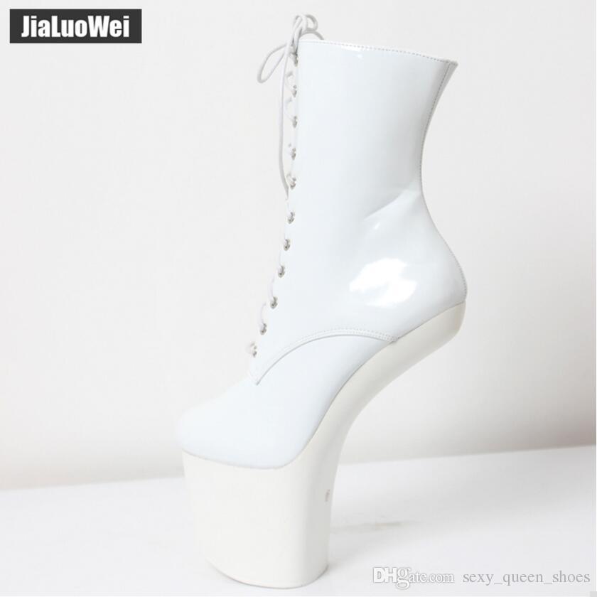 20cm Funtasma Sexy Fetish Patent leather Hoof Pony Heels Platform Half Boots Halloween Ballet boot Red Man cosplay shoes goth vamp Black
