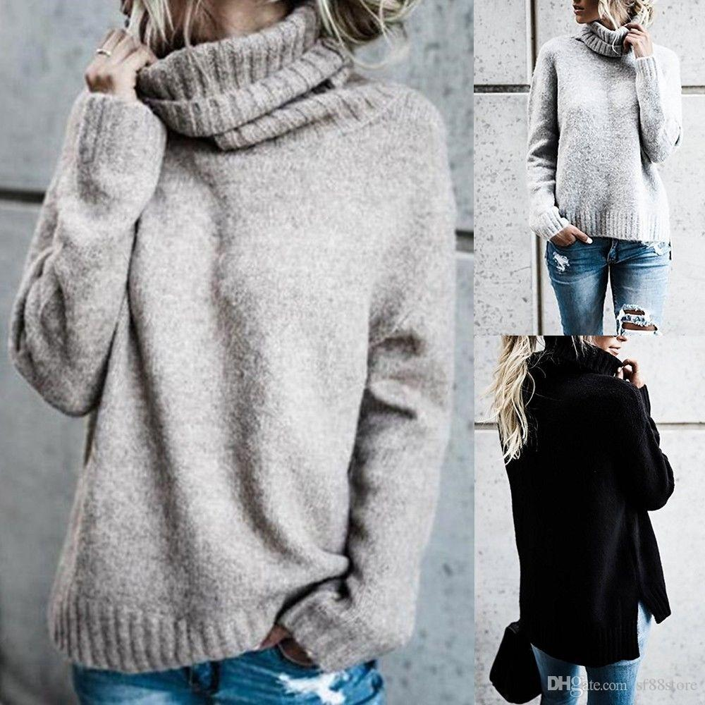c14226965c 2019 Womens Polo Neck Winter Ladies Tops Chunky Knitted Oversized Sweater  Jumper From Sf88store