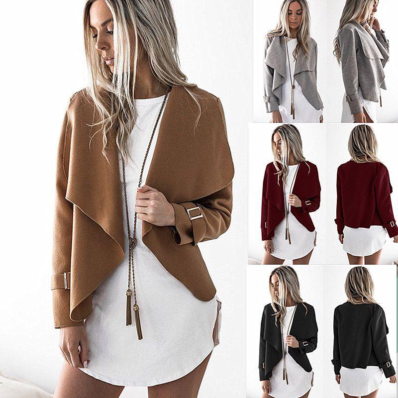 Весна осень женская мода повседневная с длинным рукавом пальто отворот свободные открытые куртки