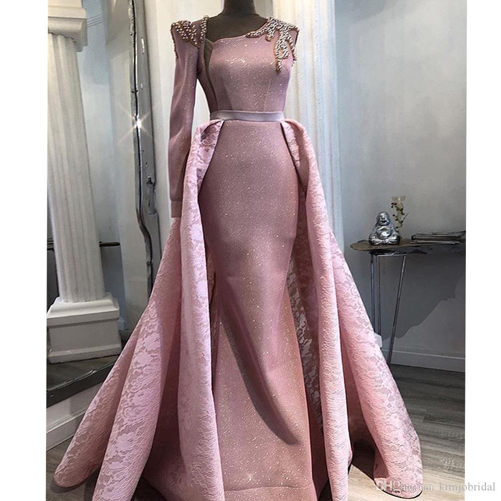 분리형 기차 레이스 장식 조각과 핑크 이브닝 드레스 진주 긴 소매 길이의 이브닝 가운 드레스 아랍어