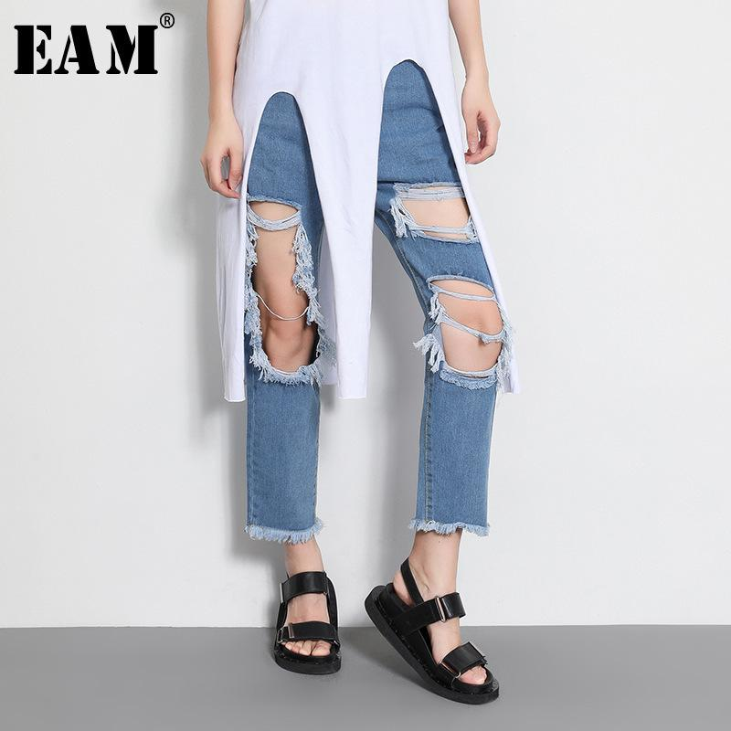 5cb54a64ce 2019 X EAM 2018 New Summer Loose Casual Big Hole Jeans Women S Fashion Tide  Light Blue Personality Wild Ankle Length Pants LA440 From Huang02