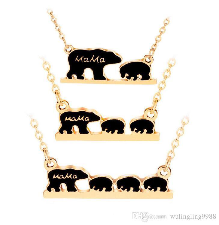 f2dc3a4e22c7 Compre 3 Modelos Mama Bear Collar Esmalte Negro Oso Madre Hijo Colgante  Cadenas Niños Joyería De Moda Regalos A  0.76 Del Wulingling9988
