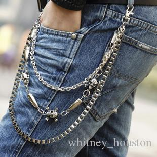 Mens Boys Hip Top Punk Rock Pants Trousers Jeans Waist Wallet Skull Metal Chains