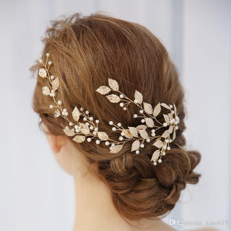 2018 Boho Gold Leaf Women Hair Vine Bridal Headband Pearls Hair Jewelry Wedding Crown Accessories Handmade