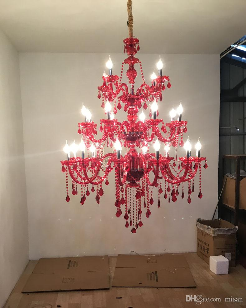 Large Red Crystal Chandelier Lighting in red 3 tiers Big Cristal Lustres Light Fixture BIG Crystal chandeliers for villa Hotel