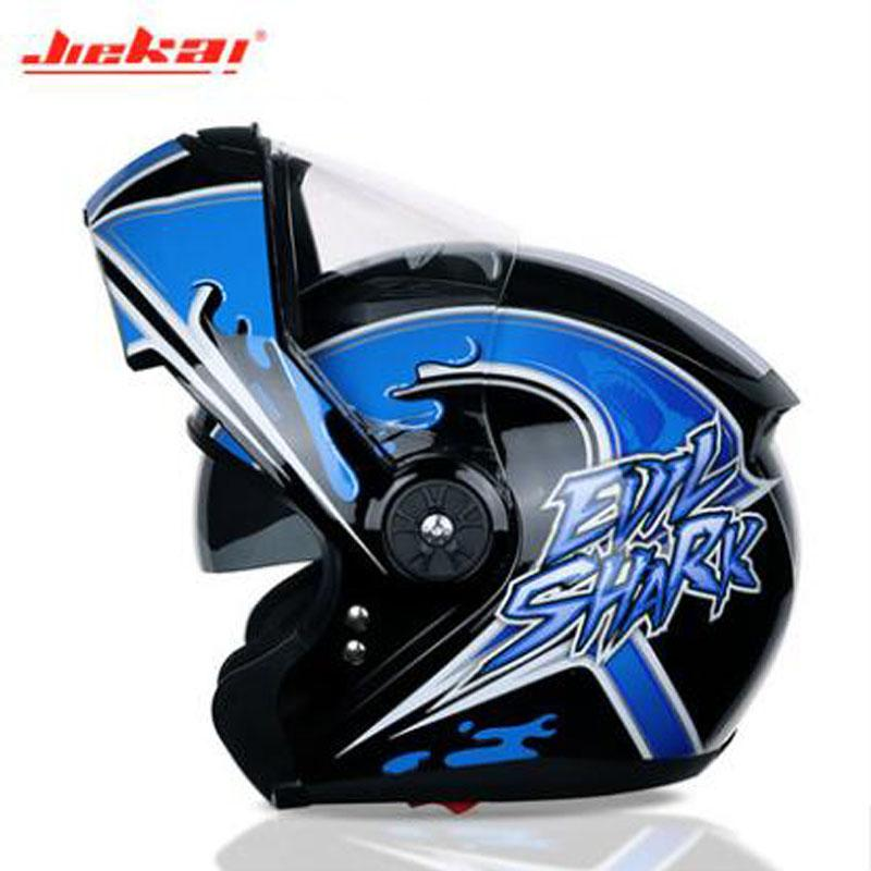 2019 New Winter warm JIEKAI Flip Up Motorcycle Helmet Full Cover Double lens Motorbike Helmets for Men and women Made of ABS