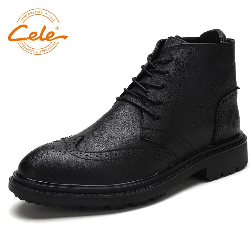 0684ddcf445c CELE Brand Ankle Boots Men Shoes Soft Leather Oxford Mens Business Black  Shoes Cassic Shoes Fashion Outdoor Shoes Cat Boots Shoe Sale From  Special2013