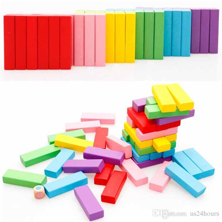 Rainbow Domino Blocks Wooden Building Colored 0-3 Years Old Girls Boys Learning Educational Toys Wood Dominos Bricks Gift For Children